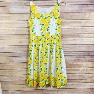 Loft Yellow Rose Tea Bouffant Sleeveless Dress